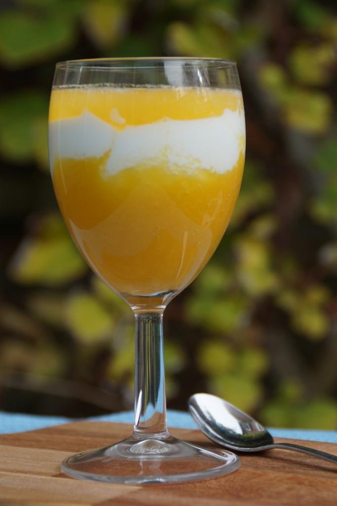smoothie met sinaasappel banaan mango en Griekse yoghurt