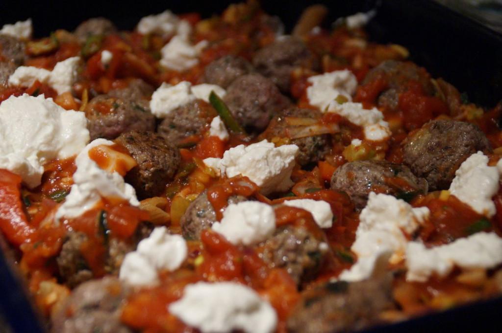 pasta met ricotta en tartaarballetjes